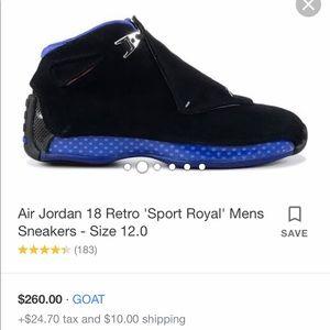 Nike Jordan's Retro 18 'sport royal' Men's 12